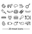 twenty line meat icons vector image vector image