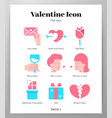 valentine icons flat pack vector image