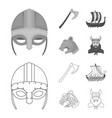 viking helmet battle ax rook on oars with vector image vector image
