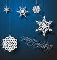 white paper christmas snowflakes vector image vector image