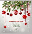winter red invitation card and balls vector image vector image