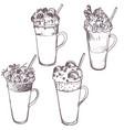 sketch of milkshakes vector image