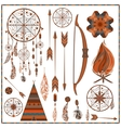 Set isolated ethnic elements arrows feathers vector image
