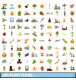 100 plant icons set cartoon style vector image vector image
