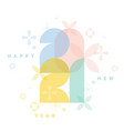 2021 elegant pastel colored numbers with flowers vector image vector image