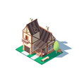 3d isometric large classic village house vector image vector image
