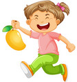 a boy holding mango fruit cartoon character vector image