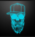 angry skull with beard vector image vector image