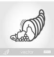 Autumn cornucopia outline icon Thanksgiving vector image