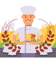 baker holding bread vector image
