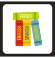 Books of foreign languages icon flat style vector image vector image