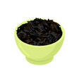 bowl of black rice cereal isolated healthy food vector image