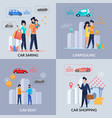 car sharing car rent carpooling shopping app vector image vector image