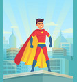 cartoon superhero watching city comic powerful vector image vector image