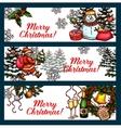 Christmas holidays banner set for festive design vector image vector image