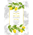 classic marble wedding invitation card with lemon vector image vector image