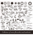 collection of hand drawn flourishes vector image vector image