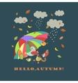 Colorful cute birds under umbrella vector image vector image