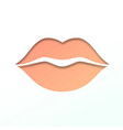 contour of lips cut from paper outline icon of vector image vector image