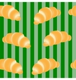 croissants on a striped green background vector image vector image