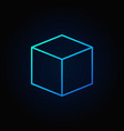 cube blue icon vector image vector image