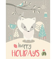 Cute Arctic Christmas baby fox vector image