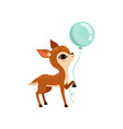 cute little fawn character with balloon vector image vector image
