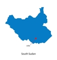 Detailed map of South Sudan and capital city Juba vector image vector image