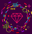 Diamond on abstract colorful geometric dark vector image