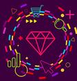 Diamond on abstract colorful geometric dark vector image