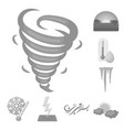 different weather monochrome icons in set vector image