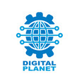 digital planet global technology logo design vector image