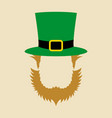 face symbol of leprechaun with green hat vector image