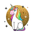 fantasy animal horse unicorn on sparkle g vector image vector image