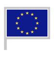 flag on flagpole rectangular shape icon on white vector image