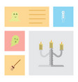 flat icon celebrate set of spirit candlestick vector image vector image