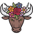 floral bull head color vector image vector image