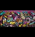 happy birthday hand drawn doodle banner cartoon vector image
