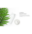 herbal cosmetic bottle and natural cream ad vector image vector image