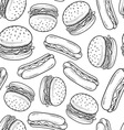Hot dog pattern vector image vector image