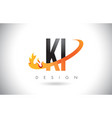 Ki k i letter logo with fire flames design and