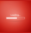 loading icon on red background progress bar icon vector image