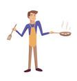 man cooking frying cartoon vector image