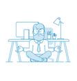 man is meditating sitting vector image