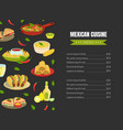 mexican traditional food menu template mexican vector image vector image