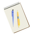 notebook blue pen and yellow pen vector image