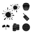 paintball team game black icons in set collection vector image vector image