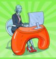 pop art robotic woman working with computer vector image