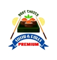Premium sushi and rolls restaurant emblem vector image vector image