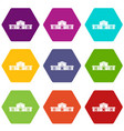 railway station building icon set color hexahedron vector image vector image